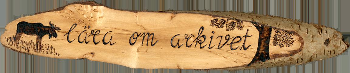 Logotyp på björktavla lära om arkivet